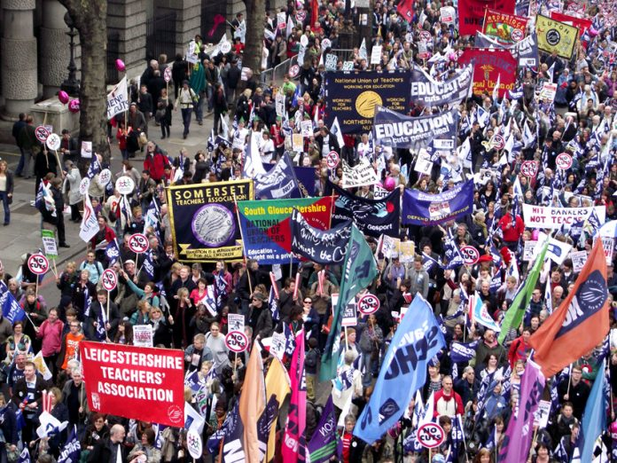 NUT banners on the 500,000-strong TUC demonstration on March 26 against the coalition's cuts