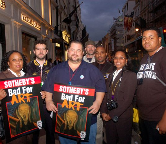 Locked-out Teamsters art handlers at Sotheby's picket the company's headquarters in London last month