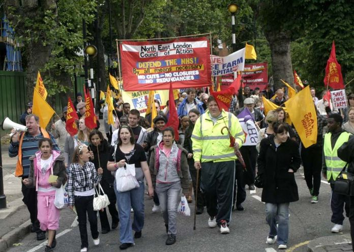 The front of a very determined and enthusiastic march in Enfield in June 2009 to keep Chase Farm Hospital open