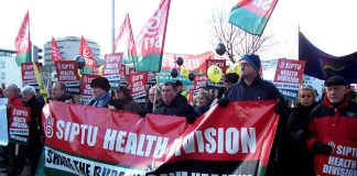 SIPTU members demand action to defend jobs in the health service