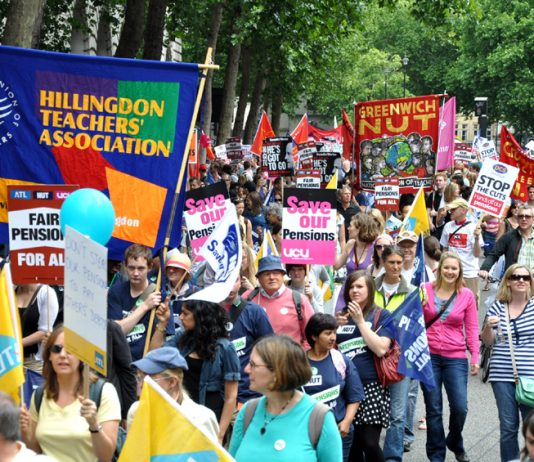 Trade unionists demonstrating against pension cuts on June 30 – Workers are being threatened with new anti-union laws if they strike on November 30