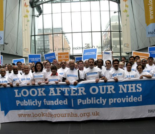 BMA delegates to the 2009 Annual Representative Meeting launch their 'Look After Our NHS' campaign against privatisation