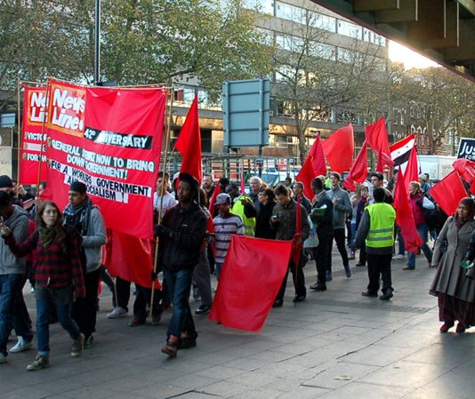 The front of the march to the News Line Anniversary rally which got an enthusiastic response throughout the route through East London