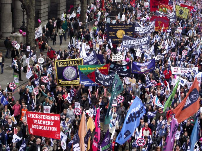 Large numbers of teachers took part in the 500,000-strong TUC demonstration on March 26 – hundreds of thousands of teachers will be on strike on tomorrow