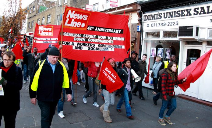 Youth led the News Line Anniversary Rally march through East London