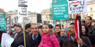 Egyptians crowds in Trafalgar Square last February show their support for the Egyptian revolution