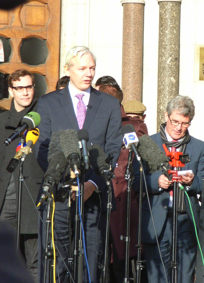 JULIAN ASSANGE on the step of the High Court after winning his right to appeal to the Supreme Court