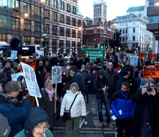 A section of the mass picket of the Balfour Beatty Crossrail site at Blackfriars Bridge early yesterday morning