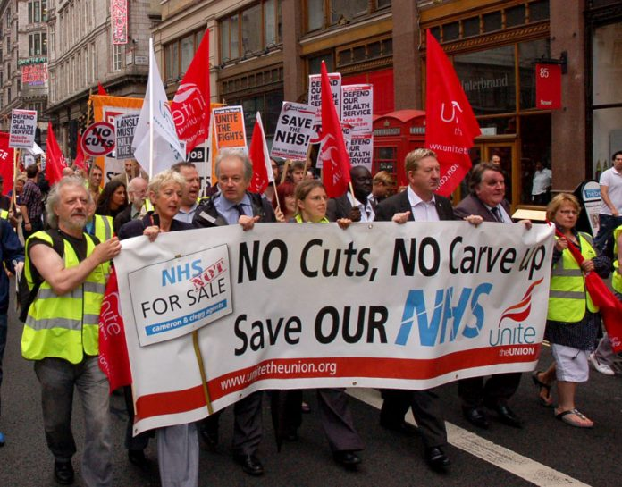 Unite members marching on July 7th this year, the 63rd Anniversary of the founding of the NHS