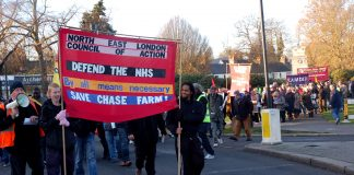 The North East London Council of Action 'Save Chase Farm' march sets off from the war memorial