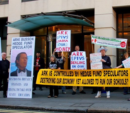 Anti-ARK Academy protest outside the company's offices in London