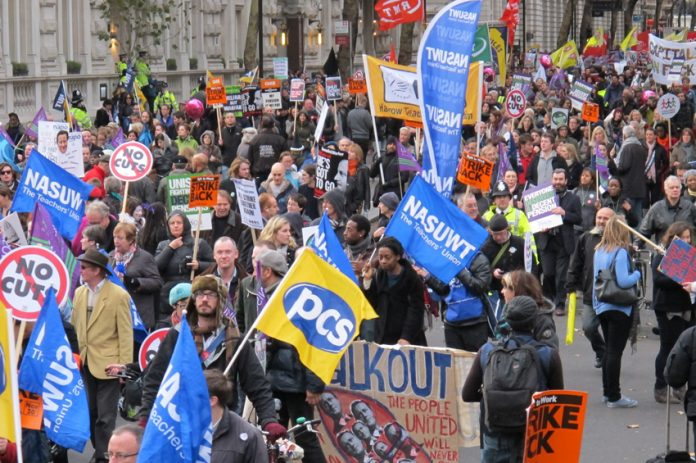 PCS and NASUWT members marching in defence of their pensions on November 30 – they will not accept what they regard as a completely unfair tax