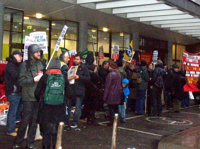 Trade unionists and youth lobbied the TUC yesterday afternoon demanding 'No pensions Sell-out!'