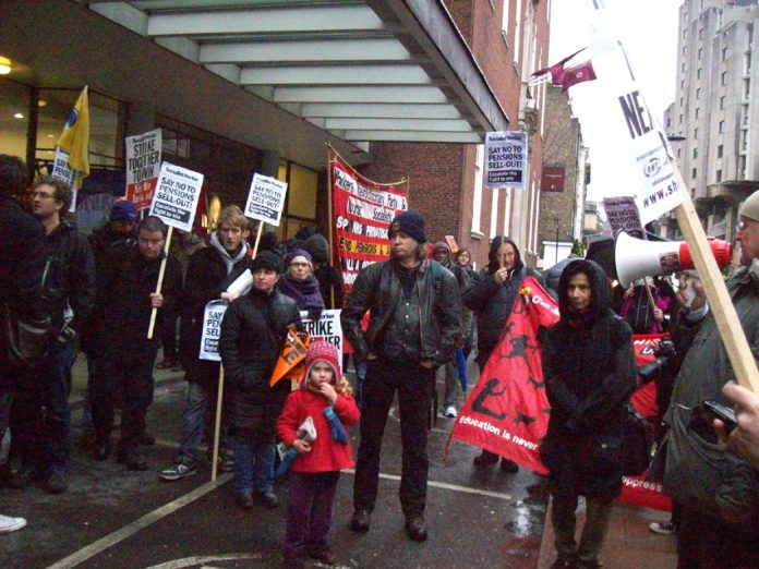 A section of yesterday's shop stewards lobby of the TUC against pension cuts