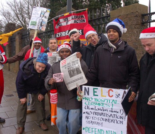 Visteon workers who staged a victorious occupation of their factory joined Wednesday's  picket of Chase Farm Hospital