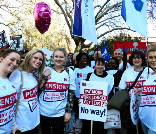 Nurses and other NHS workers on the 50,000-strong London march during the pensions strike last month
