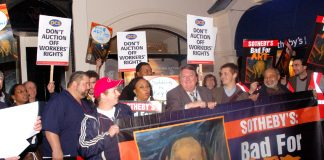 PCS members supporting the locked-out New York Sotherby's workers at a demonstration in London