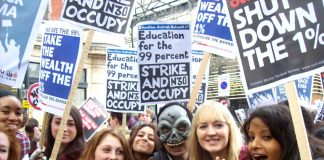 School youth marching to demand the reinstatement of the Education Maintenance  Allowance – the collapse of the retail industry is making it much more difficult for school leavers and youth to get jobs