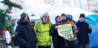 Occupiers outside St Paul's show their support for the daily picket to prepare the occupation of Chase Farm Hospital