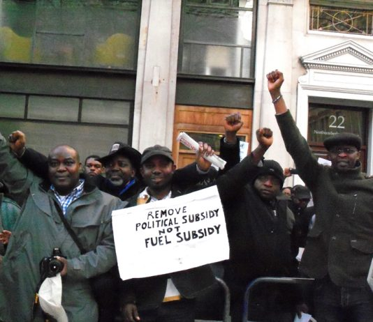 Part of a mass lobby of the Nigerian Embassy in London on Friday which insisted that the fuel subsidy must be reinstated