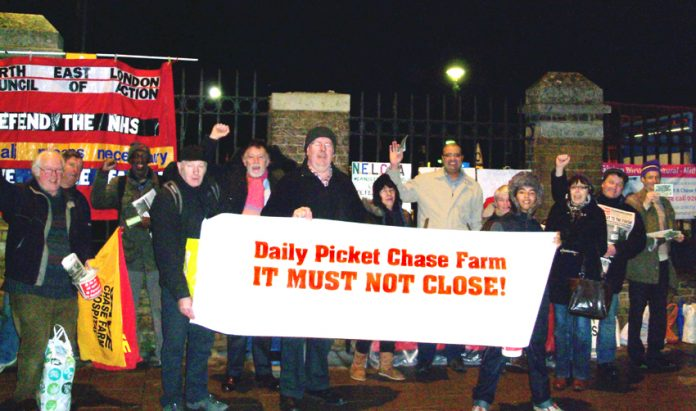 A section of the early morning mass picket which will now take place daily from 9.00am to 2.00pm to keep Chase Farm Hospital open