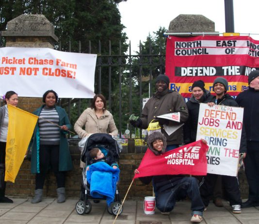 Nurses and patients joined the picket on Monday