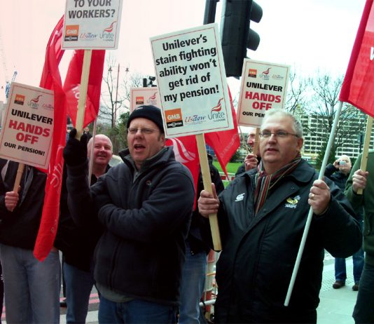 Unilever workers descended on the company's headquarters from all over the UK