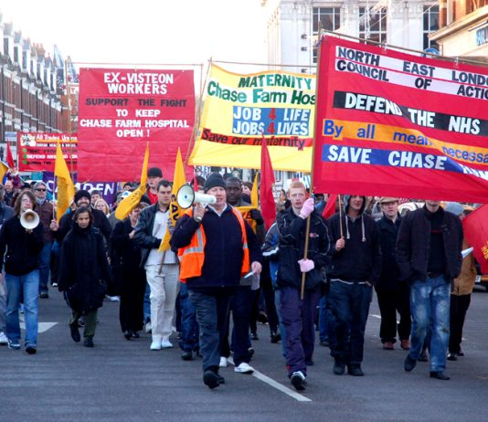 A recent march through Enfield to keep Chase Farm Hospital open, stop the cuts and defeat the Health and Social Care Bill
