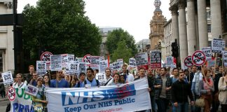Anti-privatisation march from London's UCH hospital to the Department of Health last year