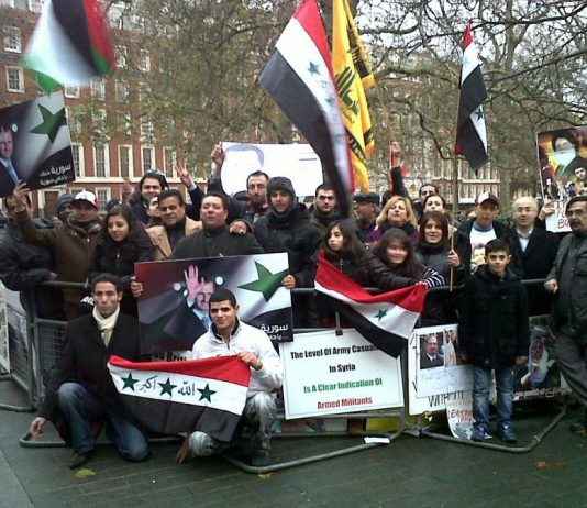 Syrians demonstrating outside the US embassy in London against a NATO intervention in their country