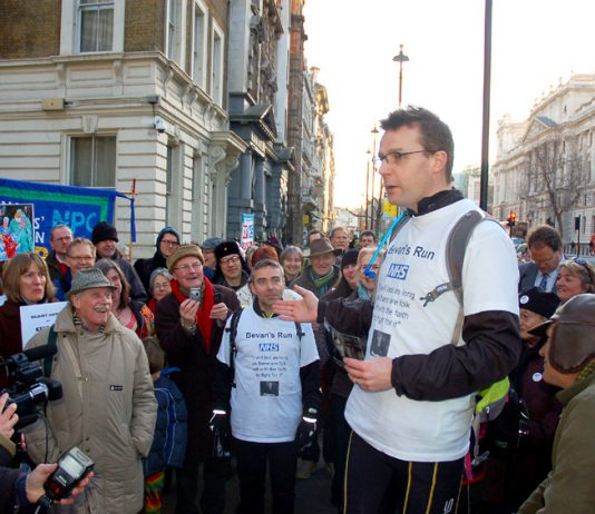 Consultant CLIVE PEEDELL addressing the crowd outside Richmond House in Whitehall, London, yesterday