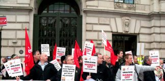 Unilever workers lobbying the company's head office demanding 'Hands off Our Pensions'
