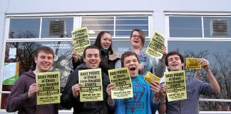 Middlesex University students show their support for the picket to stop the closure of Chase Farm Hospital