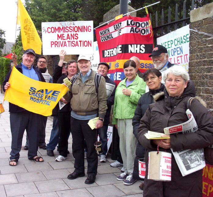 The daily picket at Chase Farm Hospital fighting to keep the hospital open is opposed to privatisation and the £20bn of cuts brought in by the Labour government