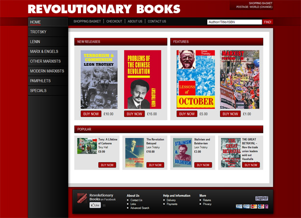 Revolutionary Books Website Screen Shot