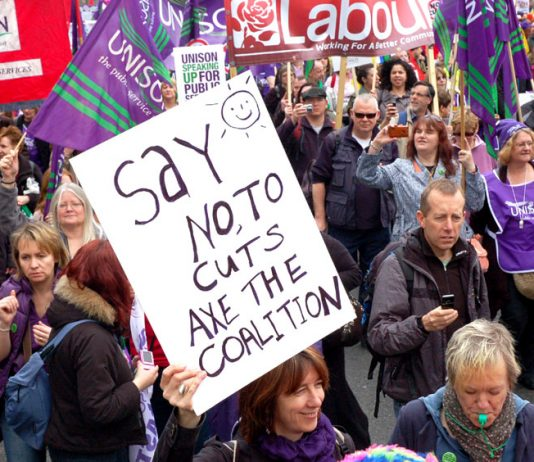 Section of the 500,000-strong TUC demonstration on March 26 last year against the coalition cuts