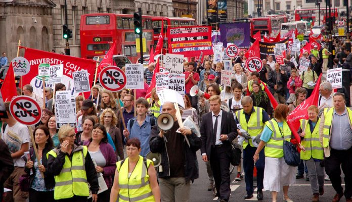 Marching against the Health Bill on the 63rd anniversary of the NHS last year