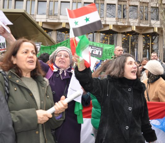 Demonstrators outside the US embassy on Saturday demanding no military intervention against Syria or Iran