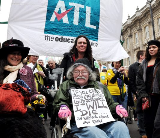 Disabled demonstrators against the Welfare Reform Bill