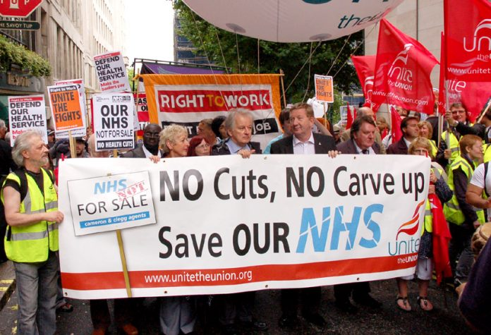 Marching in defence of the NHS on its 63rd anniversary last July