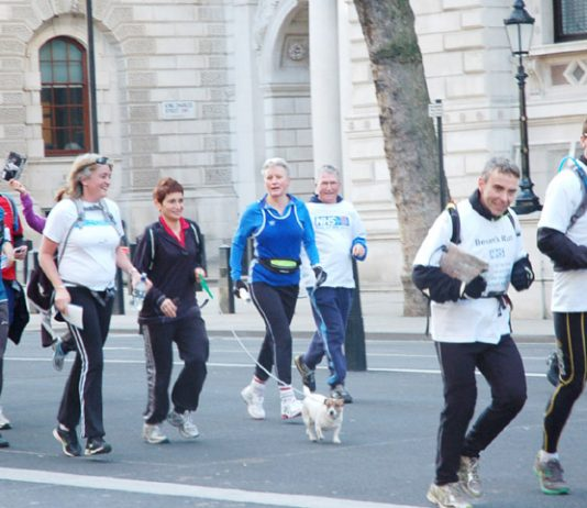 Royal College of GPs Chair CLARE GERADA (centre in black with dog) arriving last month in Whitehall with the 'Bevan's Run' consultants opposed to the Health Bill