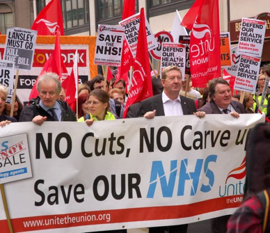 Union leaders at the front of a march demanding no cuts and no sell-off of the NHS
