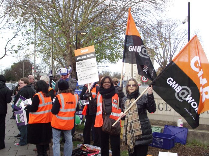 GMB members on strike in defence of pensions at St George's Hospital in Tooting last November 30