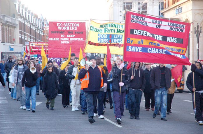 Marchers in Enfield last November determined to defend the NHS and stop the closure of Chase Farm Hospital