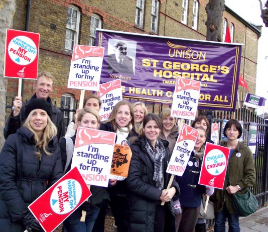 Physiotherapists on the picket line at St George's Hospital in south west London last November 30 – any future action will be joined by the BMA