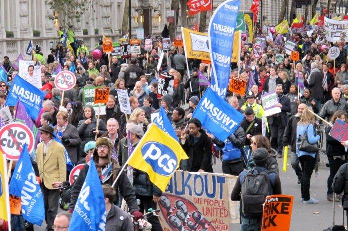 PCS banners on the pernsions strike march last year