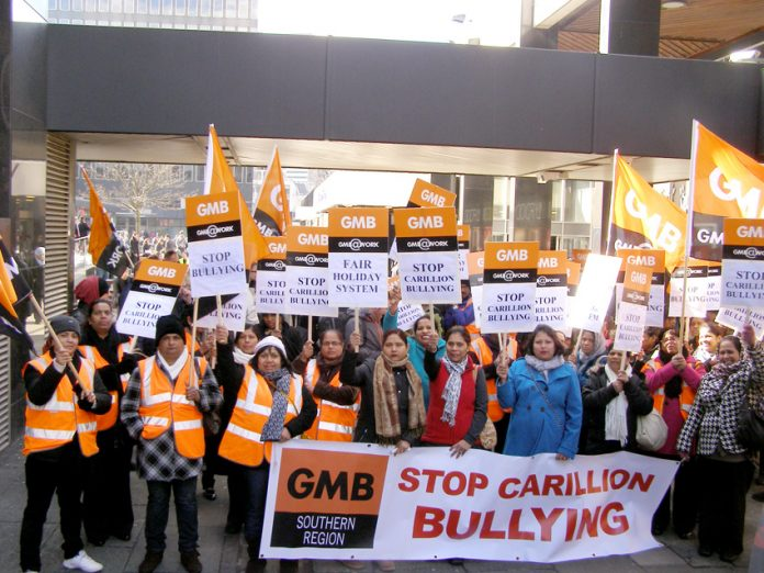 50 Swindon striking hospital workers lobby the London headquarters of Carillion demanding an end to bullying, harassment and discrimination