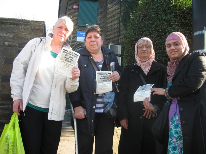Patients outside the meeting – determined to keep the surgery open