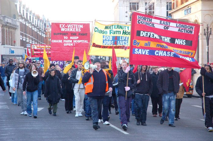 Last December's march in Enfield demanding that Chase Farm Hospital be kept open