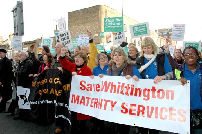 Marchers determined to stop the closure of the A&E and maternity services at Whittington hospital in north London
